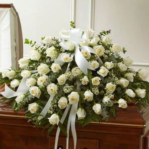 Morristown Florist | White Rose Casket